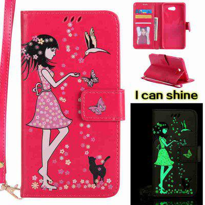 Buy TUTTI FRUTTI Women Cat Luminous Painted Pu Phone Case for Samsung Galaxy J7 2017 for $7.11 in GearBest store