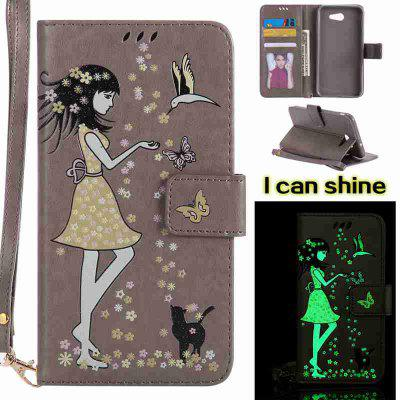 Buy OYSTER Women Cat Luminous Painted Pu Phone Case for Samsung Galaxy J7 2017 for $7.11 in GearBest store