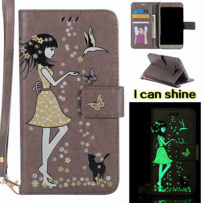 Buy OYSTER Women Cat Luminous Painted Pu Phone Case for Samsung Galaxy J7 for $7.12 in GearBest store