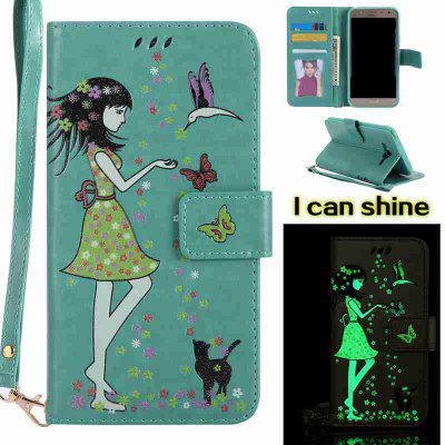 Buy FERN Women Cat Luminous Painted Pu Phone Case for Samsung Galaxy J7 for $7.12 in GearBest store