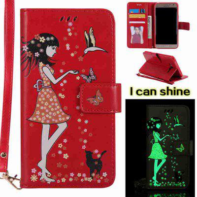 Buy AMERICAN BEAUTY Women Cat Luminous Painted Pu Phone Case for Samsung Galaxy J7 for $7.12 in GearBest store