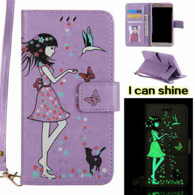 Buy LIGHT PURPLE Women Cat Luminous Painted Pu Phone Case for Samsung Galaxy J7 for $7.12 in GearBest store