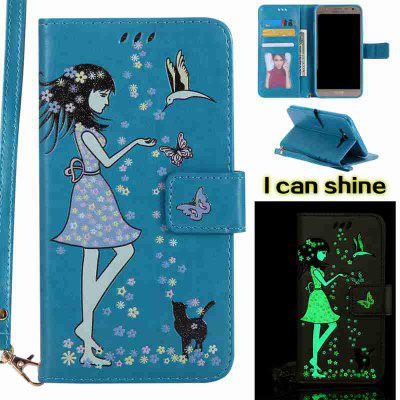 Buy CORNFLOWER Women Cat Luminous Painted Pu Phone Case for Samsung Galaxy J7 for $7.12 in GearBest store