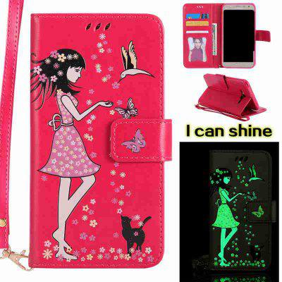 Buy TUTTI FRUTTI Women Cat Luminous Painted Pu Phone Case for Samsung Galaxy J7 for $7.12 in GearBest store