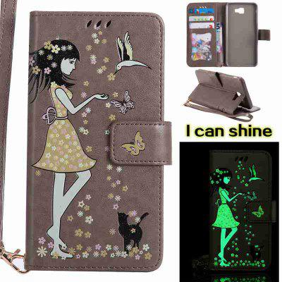 Buy OYSTER Women Cat Luminous Painted Pu Phone Case for Samsung Galaxy J7 Prime for $7.09 in GearBest store