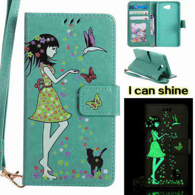 Buy FERN Women Cat Luminous Painted Pu Phone Case for Samsung Galaxy J7 Prime for $7.09 in GearBest store