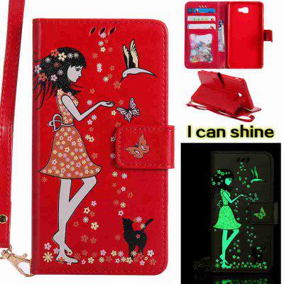 Buy AMERICAN BEAUTY Women Cat Luminous Painted Pu Phone Case for Samsung Galaxy J7 Prime for $7.09 in GearBest store