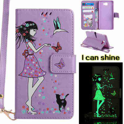 Buy LIGHT PURPLE Women Cat Luminous Painted Pu Phone Case for Samsung Galaxy J7 Prime for $7.09 in GearBest store