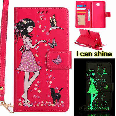 Buy TUTTI FRUTTI Women Cat Luminous Painted Pu Phone Case for Samsung Galaxy J7 Prime for $7.09 in GearBest store