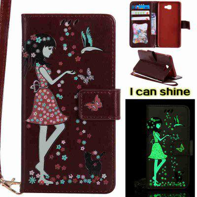 Women Cat Luminous Painted Pu Phone Case for Samsung Galaxy J7 Prime