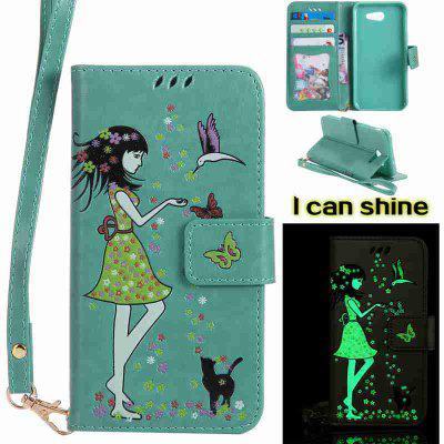 Buy FERN Women Cat Luminous Painted Pu Phone Case for Samsung Galaxy J3 2017 for $6.99 in GearBest store