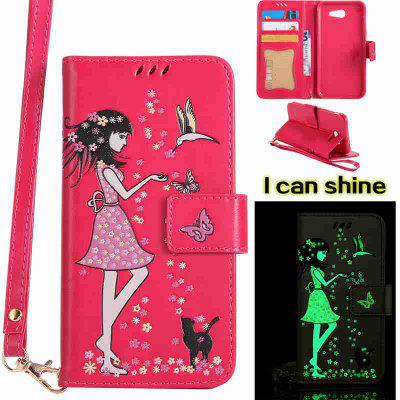Buy TUTTI FRUTTI Women Cat Luminous Painted Pu Phone Case for Samsung Galaxy J3 2017 for $6.99 in GearBest store