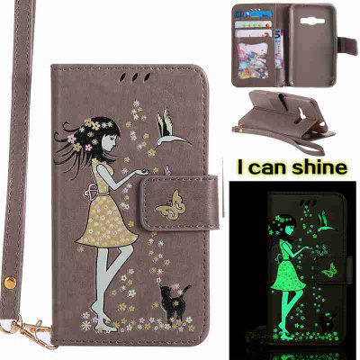 Buy OYSTER Women Cat Luminous Painted Pu Phone Case for Samsung Galaxy J120 for $6.95 in GearBest store