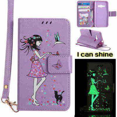 Buy LIGHT PURPLE Women Cat Luminous Painted Pu Phone Case for Samsung Galaxy J120 for $6.95 in GearBest store