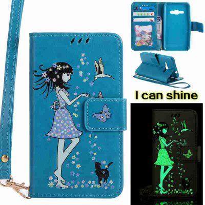 Buy CORNFLOWER Women Cat Luminous Painted Pu Phone Case for Samsung Galaxy J120 for $6.95 in GearBest store