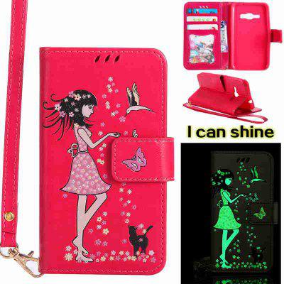 Buy TUTTI FRUTTI Women Cat Luminous Painted Pu Phone Case for Samsung Galaxy J120 for $6.95 in GearBest store