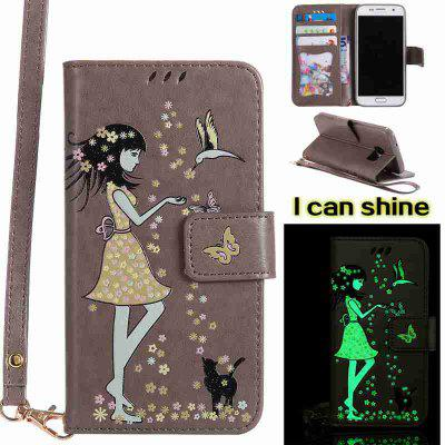 Buy OYSTER Women Cat Luminous Painted Pu Phone Case for Samsung Galaxy S7 for $7.02 in GearBest store
