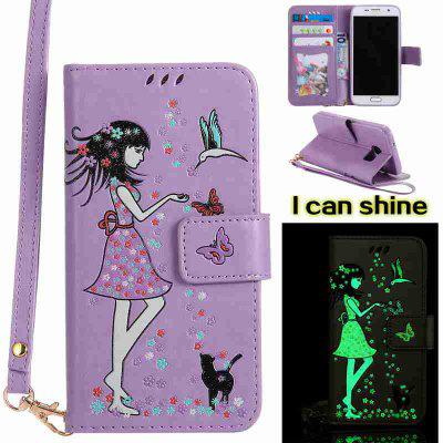 Buy LIGHT PURPLE Women Cat Luminous Painted Pu Phone Case for Samsung Galaxy S7 for $7.02 in GearBest store