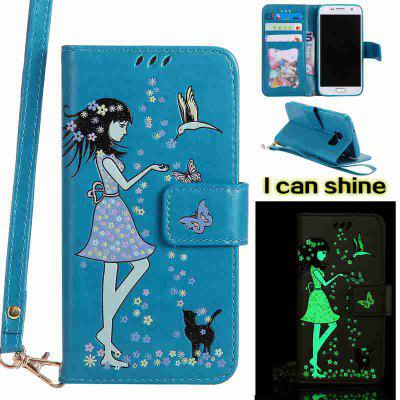 Buy CORNFLOWER Women Cat Luminous Painted Pu Phone Case for Samsung Galaxy S7 for $7.02 in GearBest store