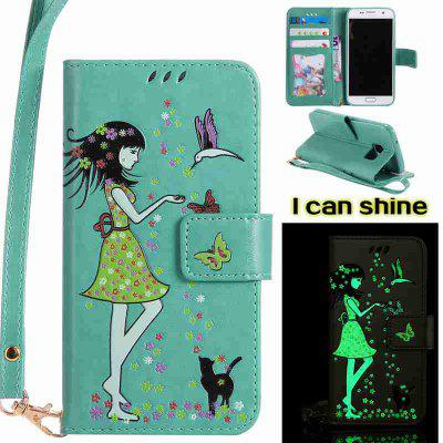 Buy FERN Women Cat Luminous Painted Pu Phone Case for Samsung Galaxy S7 for $7.02 in GearBest store