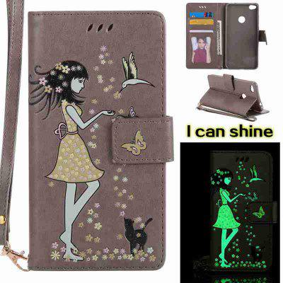 Buy OYSTER Women Cat Luminous Painted Pu Phone Case for Huawei P8 Lite 2017 for $7.06 in GearBest store