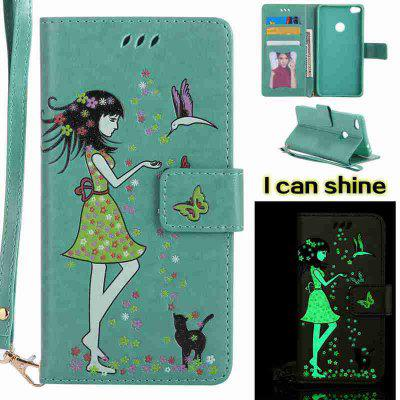 Buy FERN Women Cat Luminous Painted Pu Phone Case for Huawei P8 Lite 2017 for $7.06 in GearBest store
