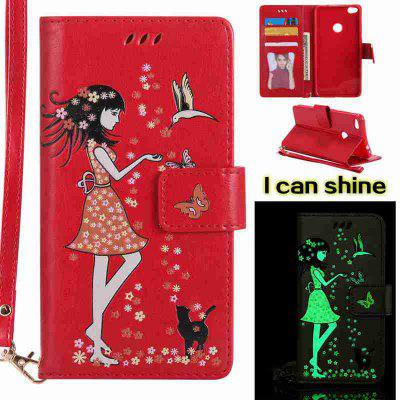Buy AMERICAN BEAUTY Women Cat Luminous Painted Pu Phone Case for Huawei P8 Lite 2017 for $7.06 in GearBest store