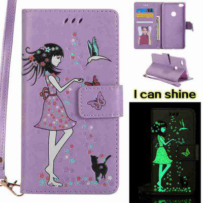 Buy LIGHT PURPLE Women Cat Luminous Painted Pu Phone Case for Huawei P8 Lite 2017 for $7.06 in GearBest store