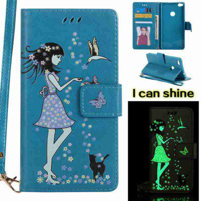 Buy CORNFLOWER Women Cat Luminous Painted Pu Phone Case for Huawei P8 Lite 2017 for $7.06 in GearBest store