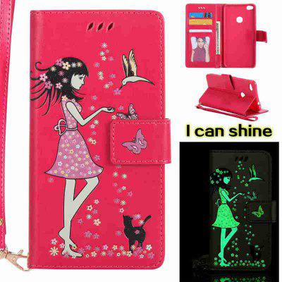 Buy TUTTI FRUTTI Women Cat Luminous Painted Pu Phone Case for Huawei P8 Lite 2017 for $7.06 in GearBest store