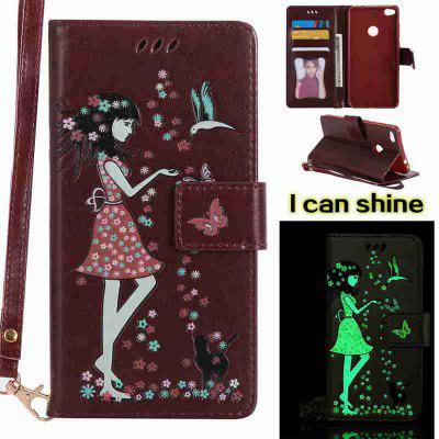 Buy BROWN Women Cat Luminous Painted Pu Phone Case for Huawei P8 Lite 2017 for $7.06 in GearBest store