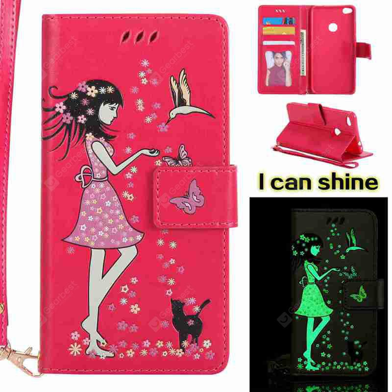 TUTTI FRUTTI Women Cat Luminous Painted Pu Phone Case for Huawei P8 Lite 2017
