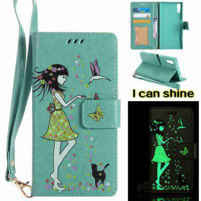 Buy FERN Women Cat Luminous Painted Pu Phone Case for Sony Xz for $7.10 in GearBest store
