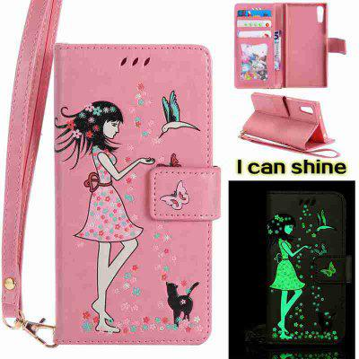 Buy PINK Women Cat Luminous Painted Pu Phone Case for Sony Xz for $7.10 in GearBest store