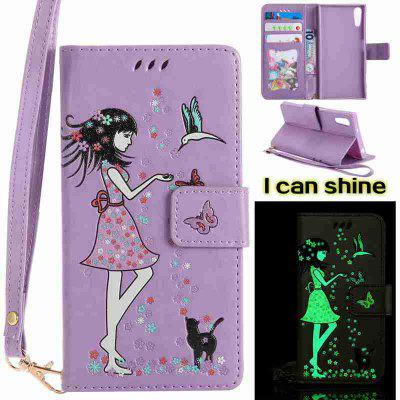 Buy LIGHT PURPLE Women Cat Luminous Painted Pu Phone Case for Sony Xz for $7.10 in GearBest store