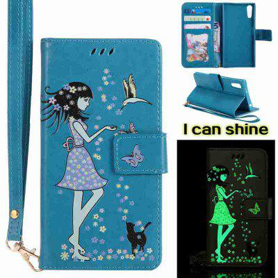 Buy CORNFLOWER Women Cat Luminous Painted Pu Phone Case for Sony Xz for $7.10 in GearBest store