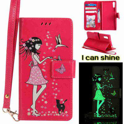 Buy TUTTI FRUTTI Women Cat Luminous Painted Pu Phone Case for Sony Xz for $7.10 in GearBest store