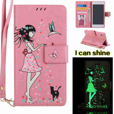Buy PINK Women Cat Luminous Painted Pu Phone Case for Sony Z5 for $7.11 in GearBest store