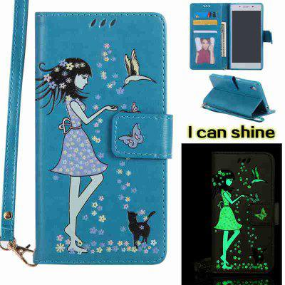 Buy CORNFLOWER Women Cat Luminous Painted Pu Phone Case for Sony Z5 for $7.11 in GearBest store