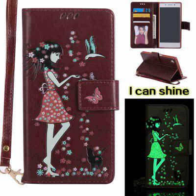 Buy BROWN Women Cat Luminous Painted Pu Phone Case for Sony Z5 for $7.11 in GearBest store