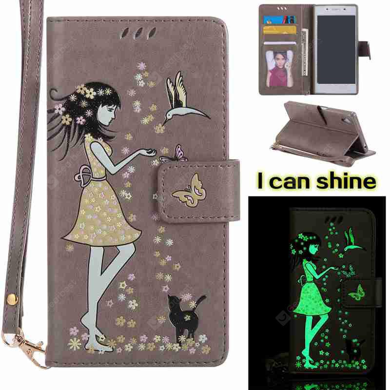 OYSTER Women Cat Luminous Painted Pu Phone Case for Sony Z5