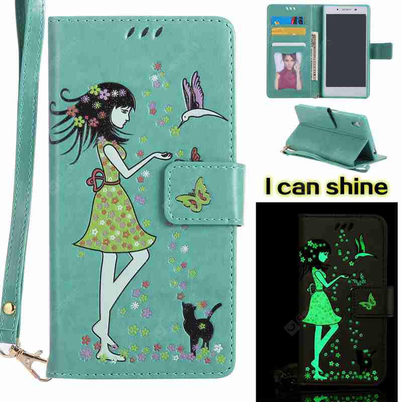 FERN Women Cat Luminous Painted Pu Phone Case for Sony Z5