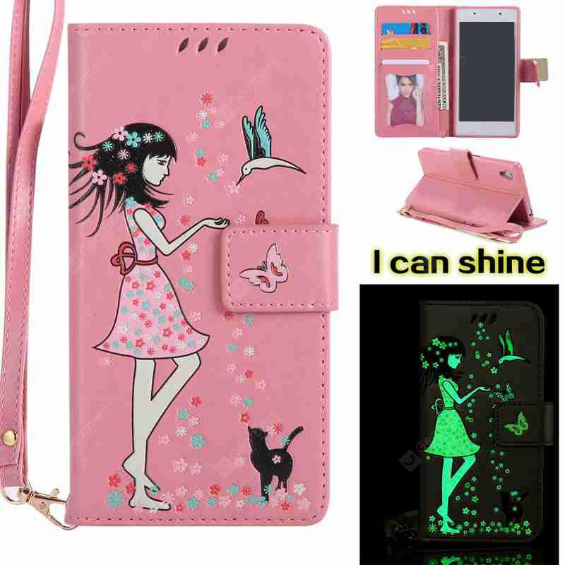 PINK Women Cat Luminous Painted Pu Phone Case for Sony Z5