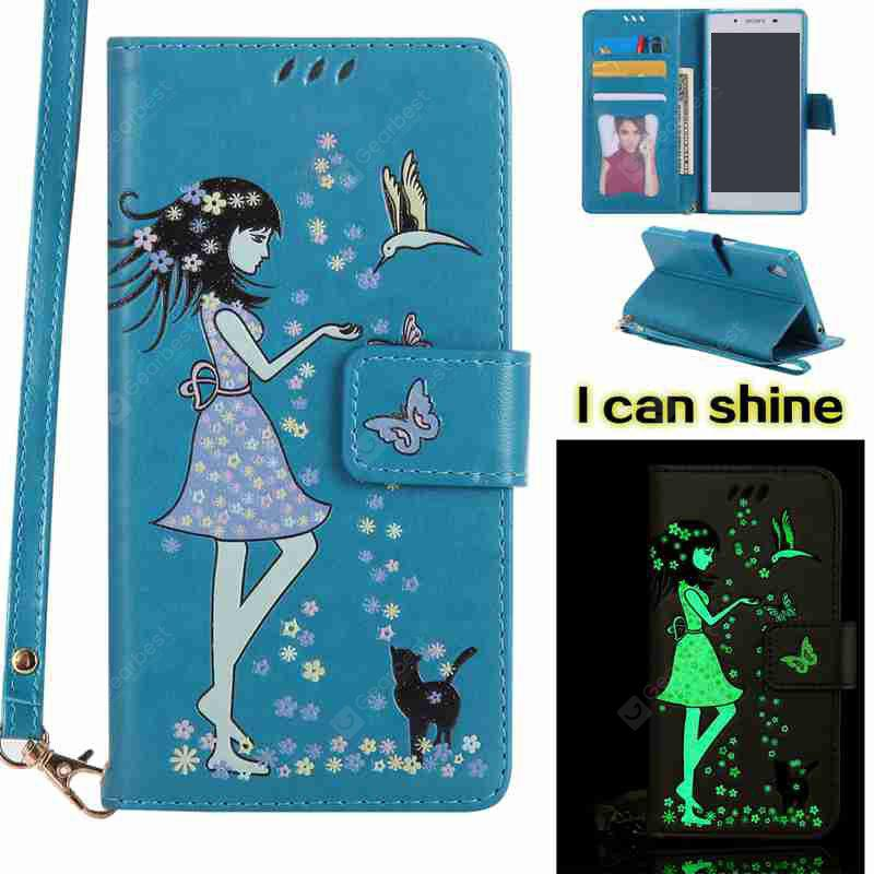CORNFLOWER Women Cat Luminous Painted Pu Phone Case for Sony Z5