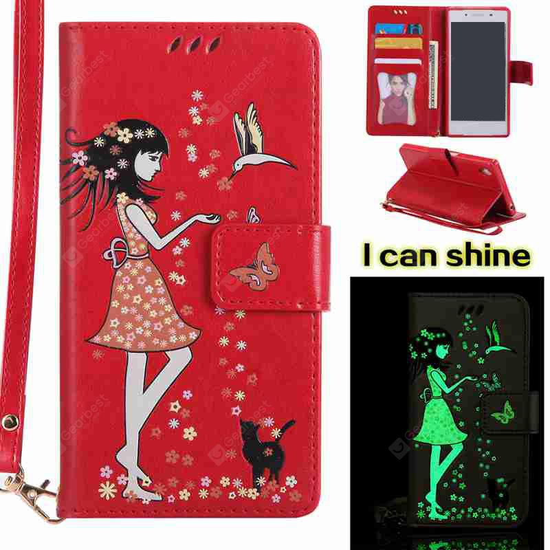AMERICAN BEAUTY Women Cat Luminous Painted Pu Phone Case for Sony Z5