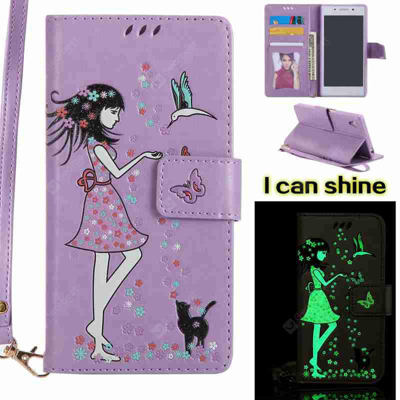 LIGHT PURPLE Women Cat Luminous Painted Pu Phone Case for Sony Z5