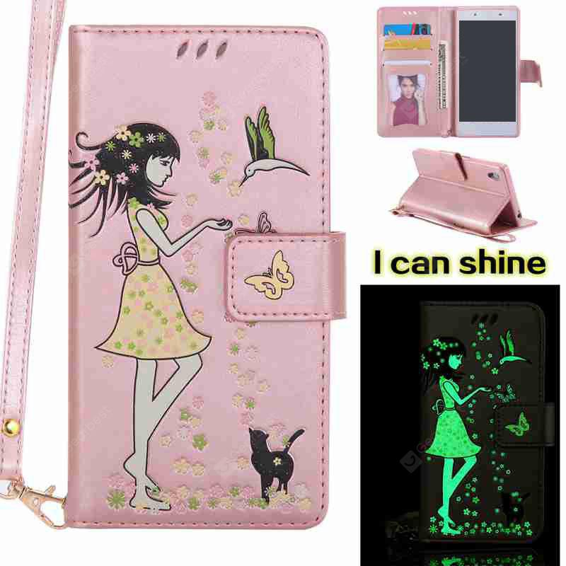 玫瑰金 Women Cat Luminous Painted Pu Phone Case for Sony Z5