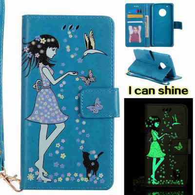 Buy CORNFLOWER Women Cat Luminous Painted Pu Phone Case for Moto G5 Plus for $8.41 in GearBest store