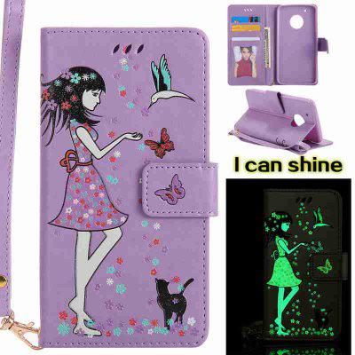Buy RADIANT Women Cat Luminous Painted Pu Phone Case for Moto G5 Plus for $7.31 in GearBest store