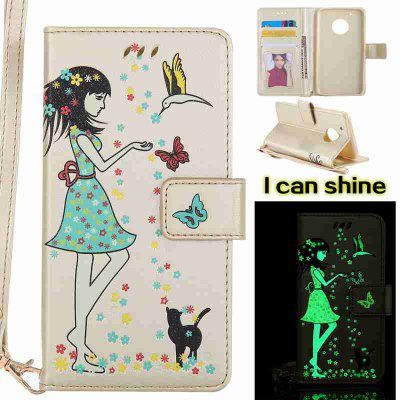 Buy MARIGOLD Women Cat Luminous Painted Pu Phone Case for Moto G5 Plus for $8.41 in GearBest store